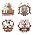 vintage colored ancient egypt emblems set vector image