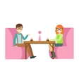 Couple In Glasses On A Date Eating A Cake Smiling vector image