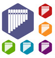 pan flute icons set vector image
