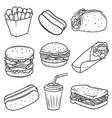 hot dog burger taco sandwich burrito set of fast vector image