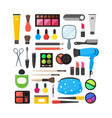 flat make up tools icon set cosmetics vector image