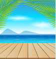 Wooden table in the beach vector image