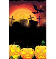 Evil Jack O Lanterns on a moon background vector image