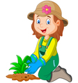 Cartoon she was plants in the garden vector image vector image