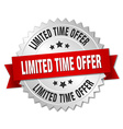 limited time offer 3d silver badge with red ribbon vector image