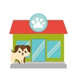 puppy little brown pet shop facade paw print vector image