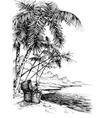 Treasure island sketch Beautiful palm trees on sea vector image
