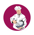 chef cook baker holding mixing bowl vector image
