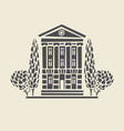 icon of two-storey old building with trees vector image