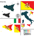 Map of Sicily vector image vector image