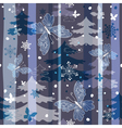 winter repeating pattern with snowflakes trees and vector image vector image