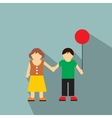 Girl and boy flat icon vector image
