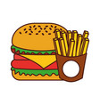 burger french fries fast food tasty delicious vector image