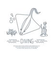 Diving icon with Stingray and bubbles vector image