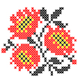 Embroidered poppies vector image