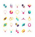 luxury jewelry flat icons vector image