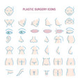 plastic surgery face correction infographic icons vector image