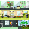 set of working interior posters banners in vector image