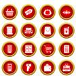 supermarket icon red circle set vector image
