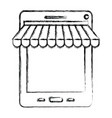Monochrome blurred silhouette of tablet online vector image
