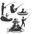 set of fishermans silhouettes fishing icons vector image vector image