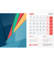 May 2016 Desk Calendar for 2016 Year Stationery vector image