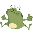 Cute Green Frog Cartoon Character vector image