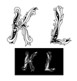 Capital letters K and L vector image