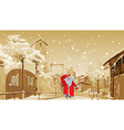 cartoon Father Frost with gift bag walks vector image