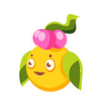Cute yellow fantastic plant character round shape vector image