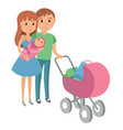 family with baby in stroller mother and father vector image