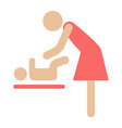 mother swaddle baby flat icon care and motherhood vector image