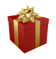 Red gift box and gold ribbon vector image