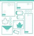stationery set 2 green leaf vector image