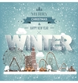 Winter cityscapeCity silhouettesTown skyline vector image