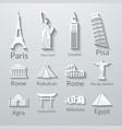 World landmarks paper icons set vector image