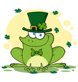 Happy Leprechaun Frog With Background vector image vector image