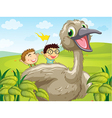 Two boys at the back of a big bird vector image vector image