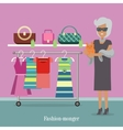 Fashion Monger Lady in Luxury Shop Rich Woman vector image