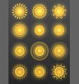 set of various transparent suns vector image