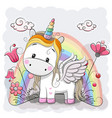 cute cartoon unicorn on the meadow vector image