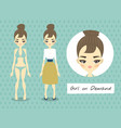 full-length portrait of a beautiful young girl vector image