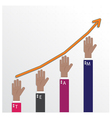 hands of businessman with graph increase vector image