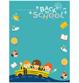 School Bus with Student and Education Icons Frame vector image