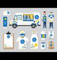 restaurant cafe design set street food truck shop vector image
