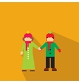 New girl and boy flat icon vector image