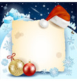 christmas background with parchment hat and vector image