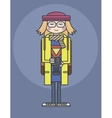 flat design line drawn girl in glasses and yellow vector image