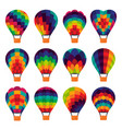 set of colorful hot air balloon icons vector image