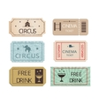 Vintage cinema circus and party tickets set vector image